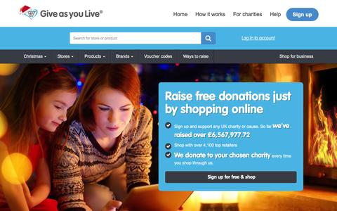 Screenshot of Home Page giveasyoulive.com - Raise free donations for charity and get the best prices for your products - Give as you Live - captured Dec. 9, 2015