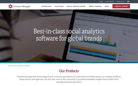 Screenshot of Products Page crimsonhexagon.com - Social Analytics Software | Social Media Analysis Platform | Crimson Hexagon - captured May 10, 2017