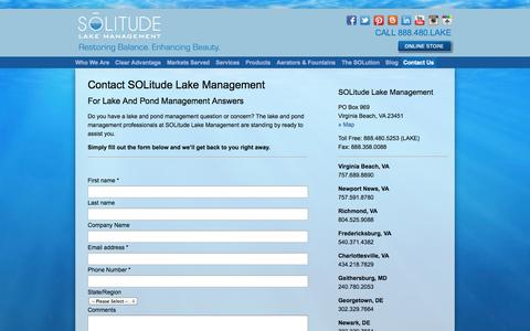 Screenshot of Contact Page solitudelakemanagement.com - Contact The Lake And Pond Management Professionals At SOLitude - captured Sept. 30, 2014