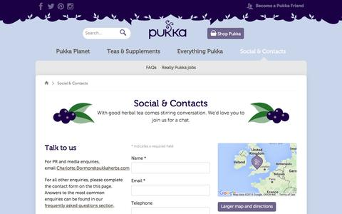 Screenshot of Contact Page pukkaherbs.com - Social & Contacts | Pukka Herbs - captured Dec. 13, 2015
