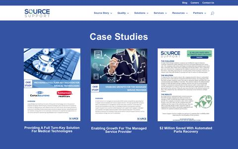 Screenshot of Case Studies Page sourcesupport.com - Case Studies | Source Support - captured Oct. 18, 2017