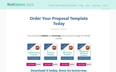 Screenshot of Products Page workoptions.com - Proposal Packages for Flexible Work Arrangements, including Telework - captured June 23, 2018