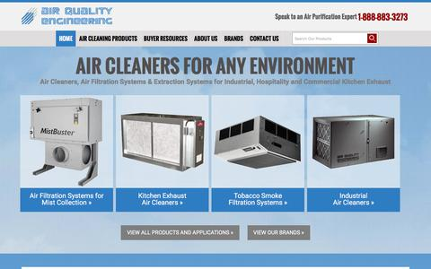 Screenshot of Home Page air-quality-eng.com - Air Filtration Systems & Air Cleaners: Industrial & Commercial Air Cleaners - captured Feb. 5, 2016