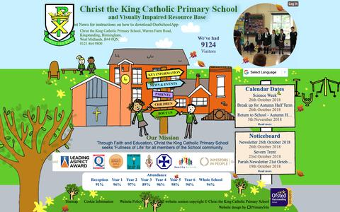 Screenshot of Home Page christkng.bham.sch.uk - Home | Christ the King Catholic Primary School - captured Oct. 26, 2018