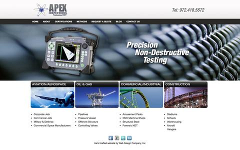 Screenshot of Home Page apexinspections.com - Apex Inspections - captured Oct. 4, 2014