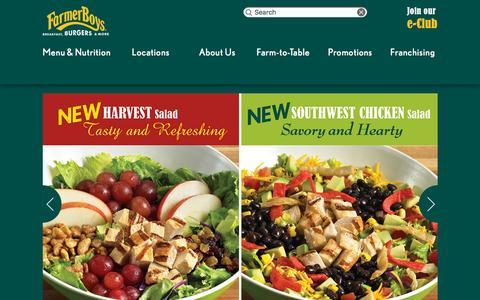 Screenshot of Home Page farmerboys.com - Farmer Boys | Breakfast, Burgers and More - captured Dec. 2, 2015