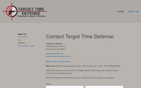 Screenshot of Contact Page targettimedefense.com - Contact Target Time Defense Firearms - Shooting Range - captured Oct. 20, 2018