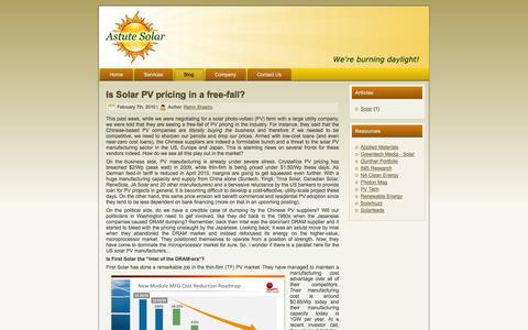 Screenshot of Blog astutesolar.com - Astute Solar - captured Sept. 30, 2014
