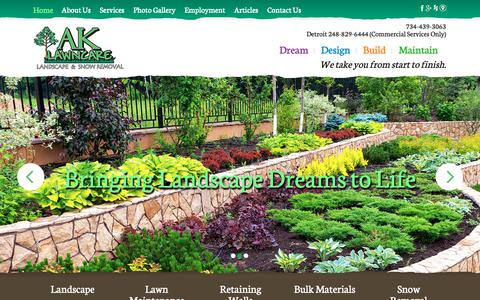 Screenshot of Home Page ak-lawncare.com - Landscape Company, Services | Milan, Ann Arbor, Canton, Tecumseh, MI - captured Oct. 2, 2018