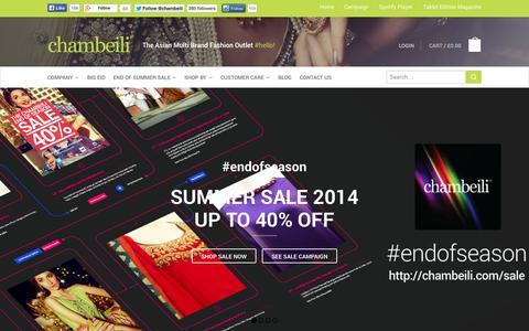 Screenshot of Home Page chambeili.com - chambeili® - The Asian Multi-Brand Fashion Outlet - captured Sept. 30, 2014