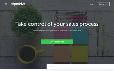 Screenshot of Home Page pipedrive.com - Sales CRM & Pipeline Management Software - Pipedrive - captured April 15, 2016
