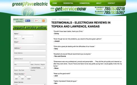 Screenshot of Testimonials Page greenwaveelectric.com - Electrical Service Reviews & Testimonials | Topeka and Lawrence, KS | Greenwave Electric - captured Oct. 3, 2014