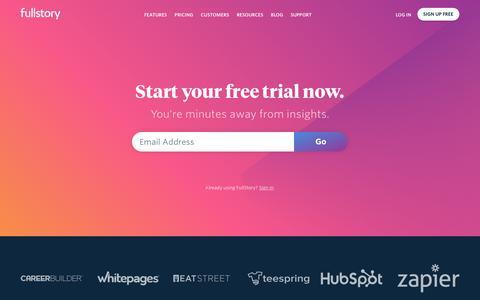 Screenshot of Signup Page fullstory.com - Signup | FullStory - captured Sept. 9, 2018