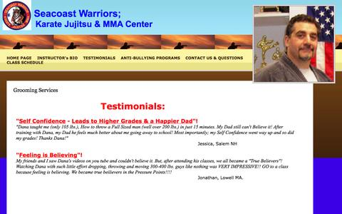 Screenshot of Testimonials Page 1secondfight.com - Grooming Services - captured Oct. 4, 2014
