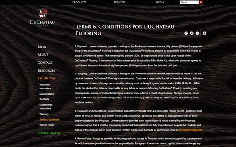 Screenshot of Terms Page duchateaufloors.com - Terms & Conditions for DuChateau® Flooring | DuChateau - captured Oct. 5, 2014