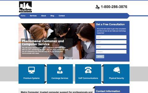 Screenshot of Home Page metrocomputer.biz - Homepage | Metro Computer - captured Sept. 20, 2018