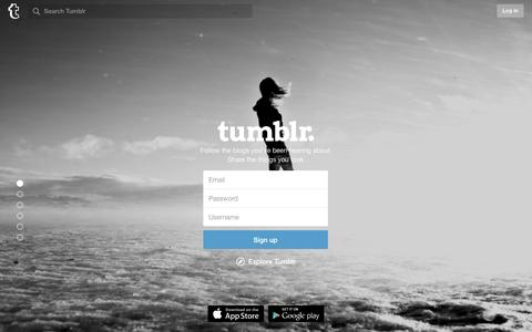 Screenshot of Signup Page tumblr.com - Sign up | Tumblr - captured Dec. 28, 2015