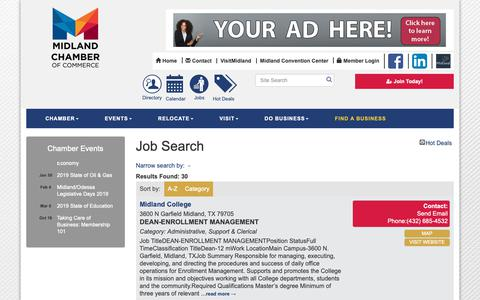 Screenshot of Jobs Page midlandtxchamber.com - Job Search - Midland Chamber of Commerce, TX - captured Oct. 18, 2018