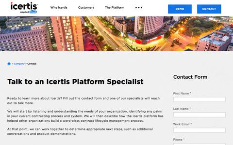 Screenshot of Contact Page icertis.com - Contact Us for Contract Management Software | Icertis - captured May 17, 2018