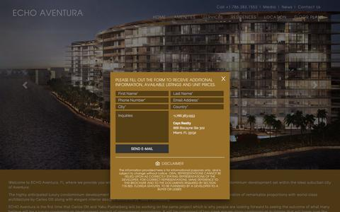 Screenshot of Home Page echoaventurafl.com - Echo Aventura Florida Luxury Condos For Sale - captured May 23, 2016
