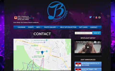 Screenshot of Contact Page bellyupaspen.com - Contact Us   (970) 544-9800 - Belly Up Aspen - captured Aug. 2, 2018