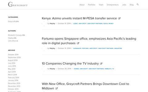 Screenshot of Blog greycroft.com - Investment Blog — Greycroft Partners - captured Nov. 2, 2014