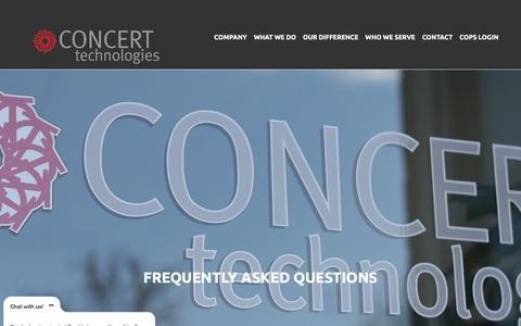 Screenshot of FAQ Page concerttech.com - FAQs  |  Concert Technologies | Accelerating Technology Rollouts - captured Nov. 10, 2016