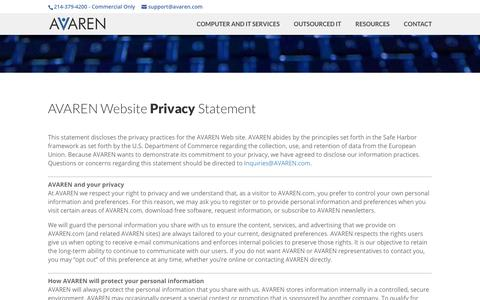 Screenshot of Privacy Page avaren.com - Privacy-AVAREN IT Department - captured Oct. 2, 2018