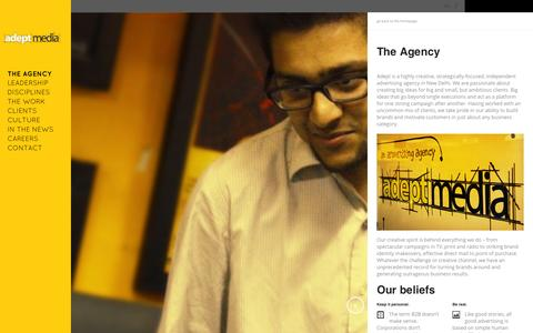 Screenshot of About Page adeptmedia.in - The Agency | Adept MediaAdept Media - captured Sept. 30, 2014