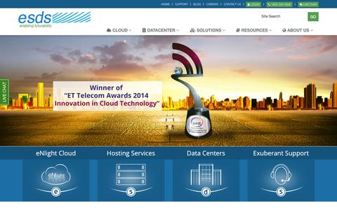 Screenshot of Home Page esds.co.in - Web Hosting Services and Enterprise IT Solutions by ESDS - captured Jan. 15, 2015