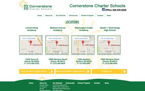 Screenshot of Locations Page cornerstonecharters.org - » Locations - captured Oct. 3, 2014