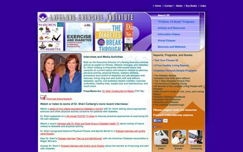 Screenshot of Press Page lifelongexercise.com - Lifelong Exercise Institute | Media Interviews with LEI and Dr. Sheri Colberg - captured Oct. 2, 2014