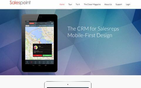 Screenshot of Home Page salespoint.com - Salespoint - The Mobile CRM Designed for Salesreps - captured Sept. 23, 2014