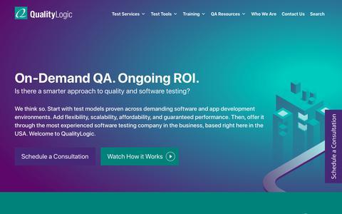 Screenshot of Home Page qualitylogic.com - QualityLogic | Home: Software Testing Company, Software QA Company - captured Dec. 9, 2019