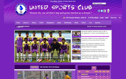 Screenshot of Home Page unitedsportsclub.in - United Sports Club - captured Sept. 29, 2015