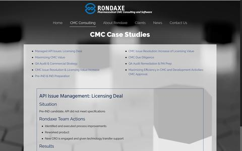 Screenshot of Case Studies Page rondaxe.com - CMC Case Studies – Rondaxe - captured Dec. 3, 2016