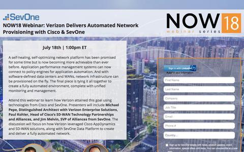 Screenshot of Landing Page sevone.com - NOW18 Webinar: Verizon Delivers Automated Network Provisioning with Cisco & SevOne - captured Sept. 21, 2018