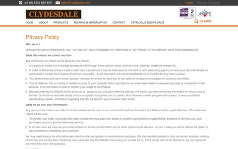 Screenshot of Privacy Page clydesdale.net - Privacy Policy | Clydesdale - captured Aug. 7, 2017