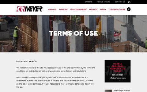 Screenshot of Terms Page crmeyer.com - CR Meyer | Terms of Use - captured July 14, 2018