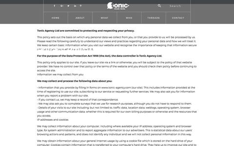 Screenshot of Privacy Page tonic-agency.com - Privacy Policy - Tonic Agency - captured Oct. 24, 2017