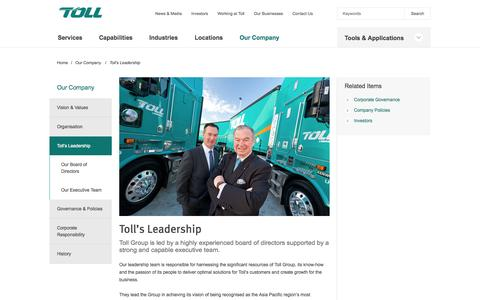 Screenshot of Team Page tollgroup.com - Toll Leadership | Toll Group - Providing Global Logistics - captured Oct. 10, 2014