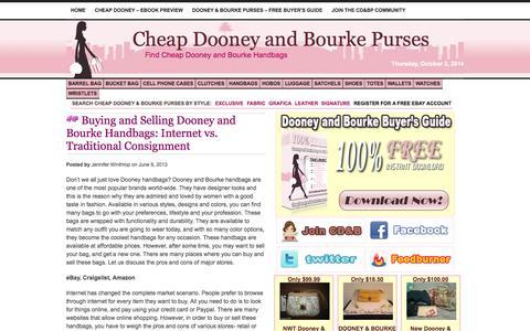 Screenshot of Home Page cheapdooneyandbourkepurses.com - Cheap Dooney and Bourke Purses and Handbags - captured Oct. 2, 2014