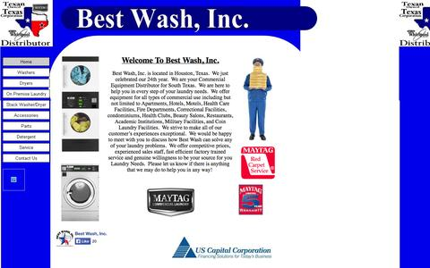 Screenshot of Home Page bestwashinc.com - Maytag and Whirlpool Commercial Distributor for Texas - captured Sept. 30, 2014