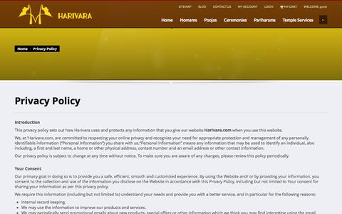 Screenshot of Privacy Page harivara.com - Privacy Policy | Harivara Pooja Services - captured Oct. 2, 2014