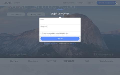 Screenshot of Login Page wundercapital.com - Wunder Capital - captured Dec. 3, 2016