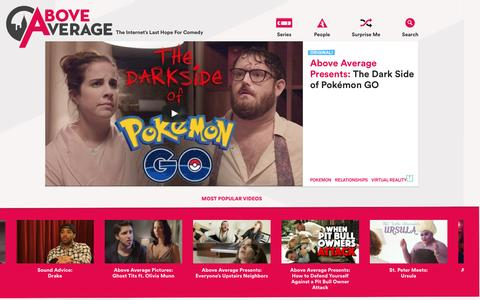 Screenshot of Home Page aboveaverage.com - Above Average - Comedy Videos, Clips and Articles - captured July 24, 2016