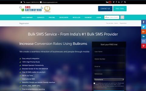 Screenshot of Trial Page smsgatewayhub.com - Reliable Bulk SMS Marketing and Alerts Platform For Enterprises - captured Nov. 18, 2016