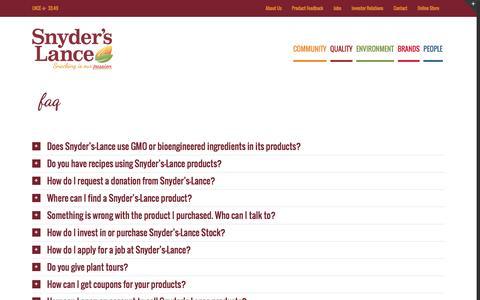 Screenshot of FAQ Page snyderslance.com - FAQ - Snyder's-Lance, Inc. - captured Sept. 27, 2016