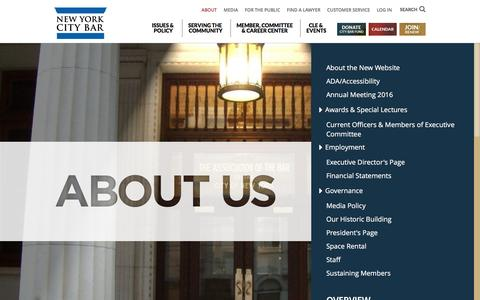 Screenshot of About Page nycbar.org - About | NYC Bar - captured Nov. 6, 2016