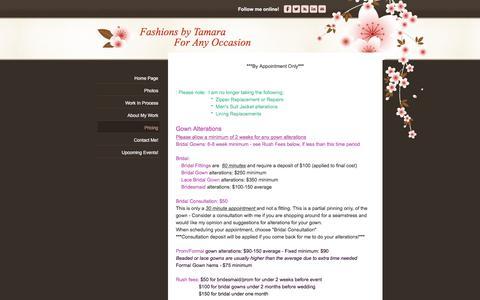 Screenshot of Pricing Page fashionsbytamara.com - Pricing - Fashions by TamaraForAny Occasion - captured Sept. 20, 2018